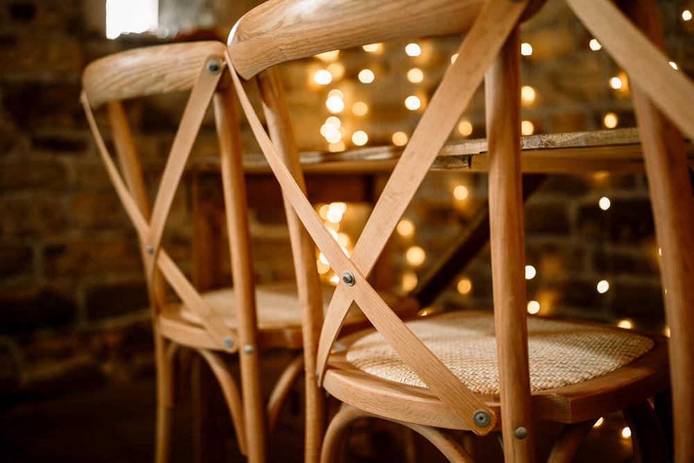 Cross Back Wooden Chairs Blossom Barn Wedding Ideas Hayley Baxter Photography