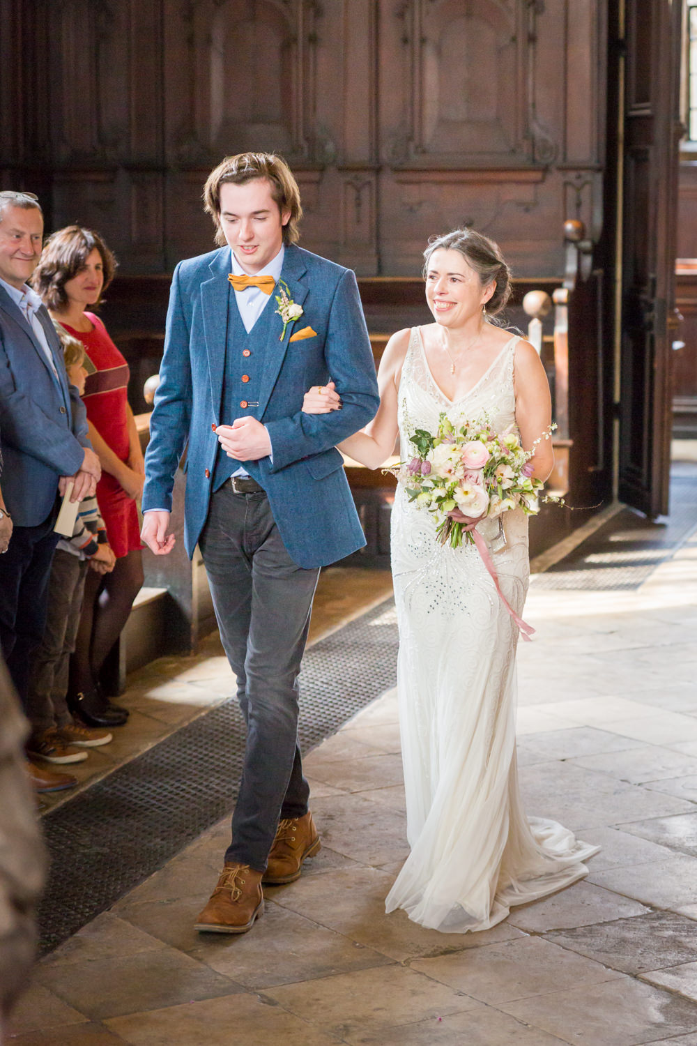 Bride Bridal Beaded Fitted Phase Eight Dress Tweed Jacket Wild Loose Handtied Bouquet Ribbon Bodleian Library Wedding Anita Nicholson Photography