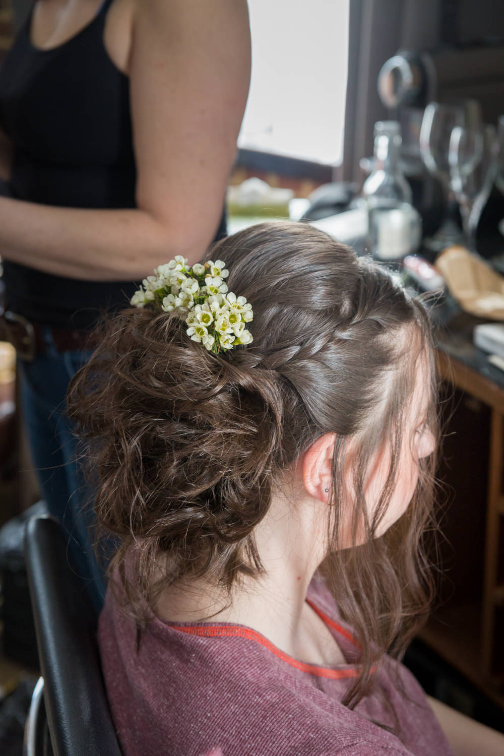 Bridesmaids Hair Up Do Wax Flowers Bodleian Library Wedding Anita Nicholson Photography