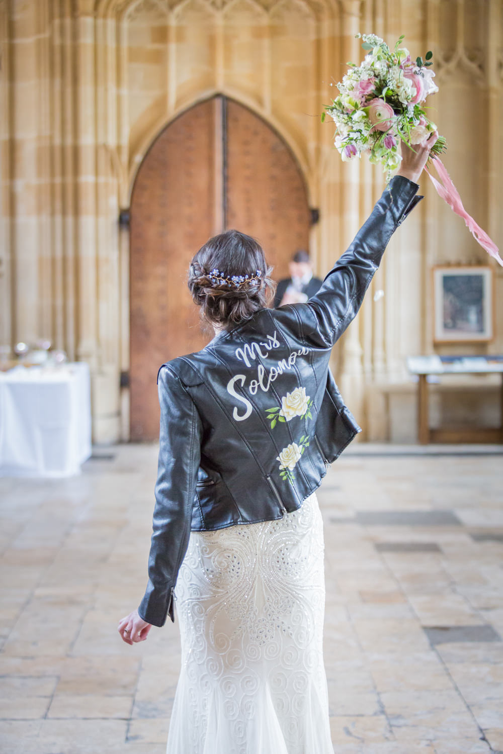 Bride Bridal Beaded Fitted Phase Eight Dress Bouquet Ribbon Leather Jacket Bodleian Library Wedding Anita Nicholson Photography