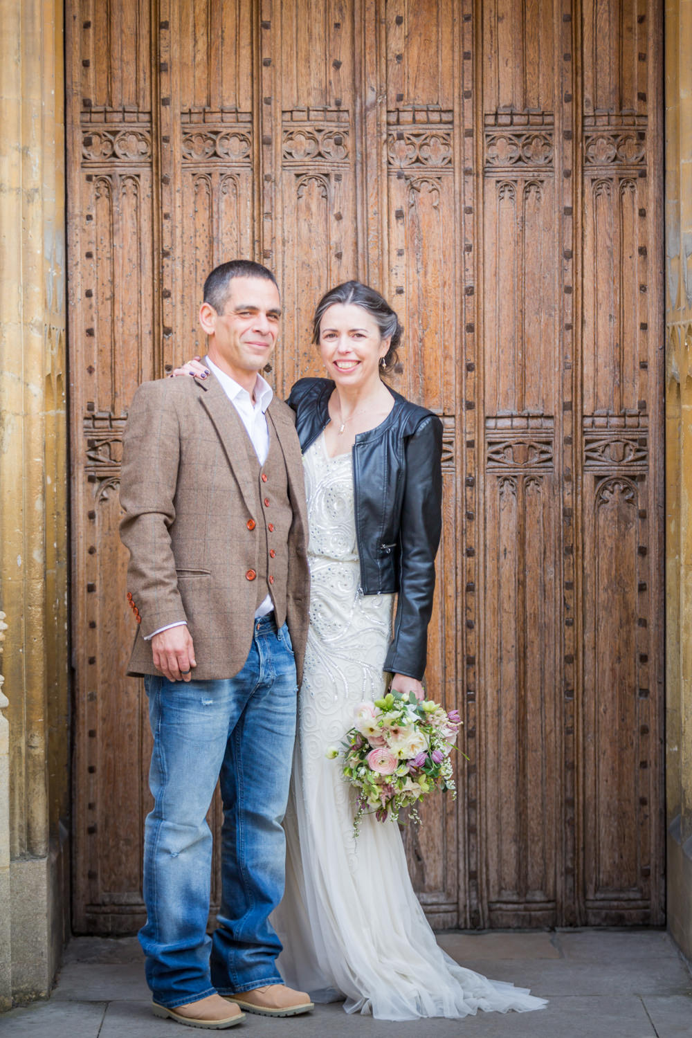 Bride Bridal Beaded Fitted Phase Eight Dress Tweed Jacket Jeans Groom Leather Jacket Wildflower BouquetBodleian Library Wedding Anita Nicholson Photography