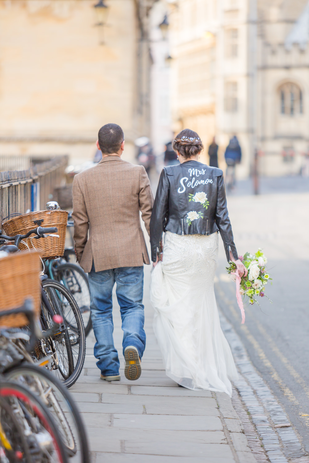 Bride Bridal Beaded Fitted Phase Eight Dress Tweed Jacket Jeans Groom Leather Jacket HandpaintedBodleian Library Wedding Anita Nicholson Photography