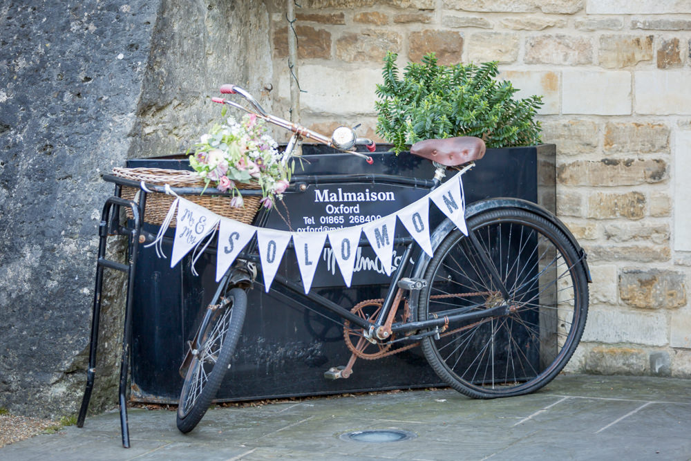 Entrance Bike Bunting Flowers Floral Bodleian Library Wedding Anita Nicholson Photography