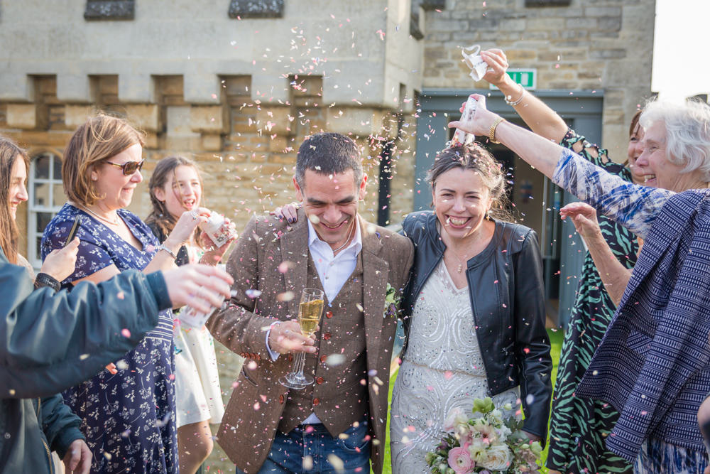 Bride Bridal Beaded Fitted Phase Eight Dress Tweed Jacket Jeans Groom Leather Jacket Confetti Bodleian Library Wedding Anita Nicholson Photography