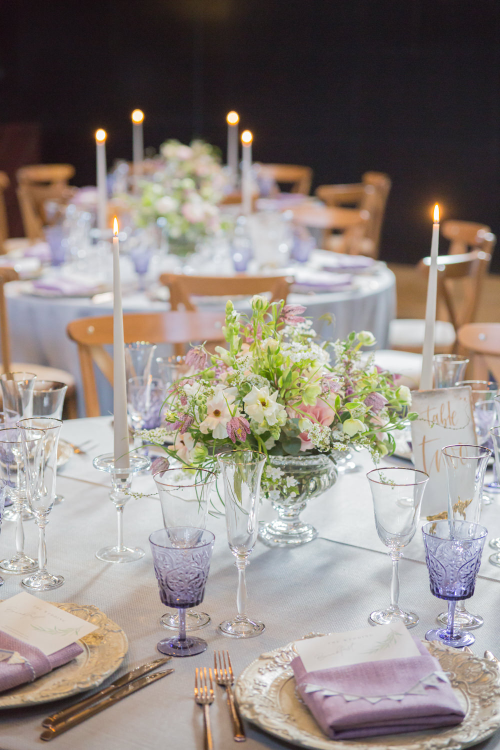 Purple Glass Taper Candles Wildflower Florals Bunting Place Cards Bodleian Library Wedding Anita Nicholson Photography