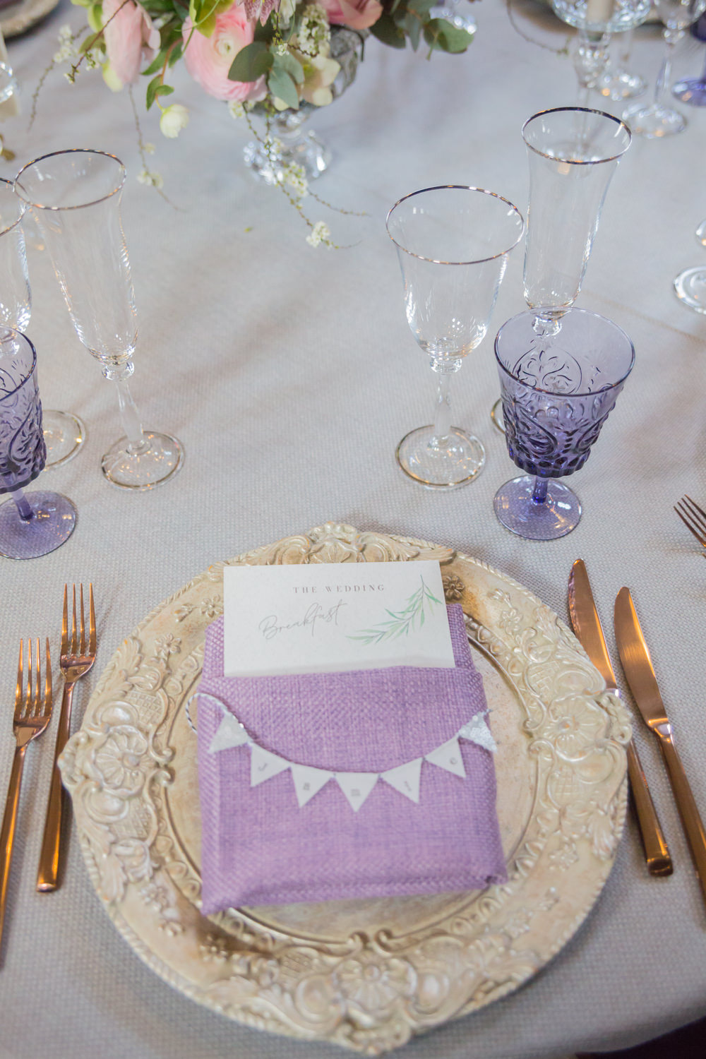 Purple Glass Table Setting Bunting Place Card Menu Charger Plate Bodleian Library Wedding Anita Nicholson Photography