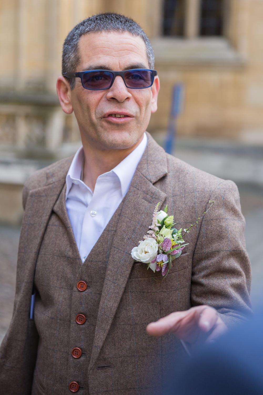 Tweed Jacket Waistcoat Groom Buttonhole Bodleian Library Wedding Anita Nicholson Photography