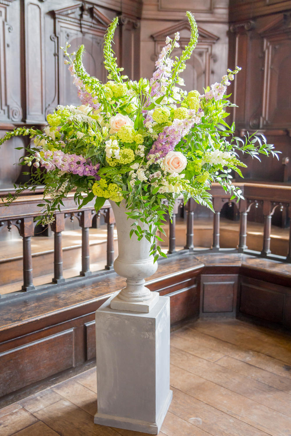 Flowers Floral Foxgloves Urn Vase Greenery Bodleian Library Wedding Anita Nicholson Photography