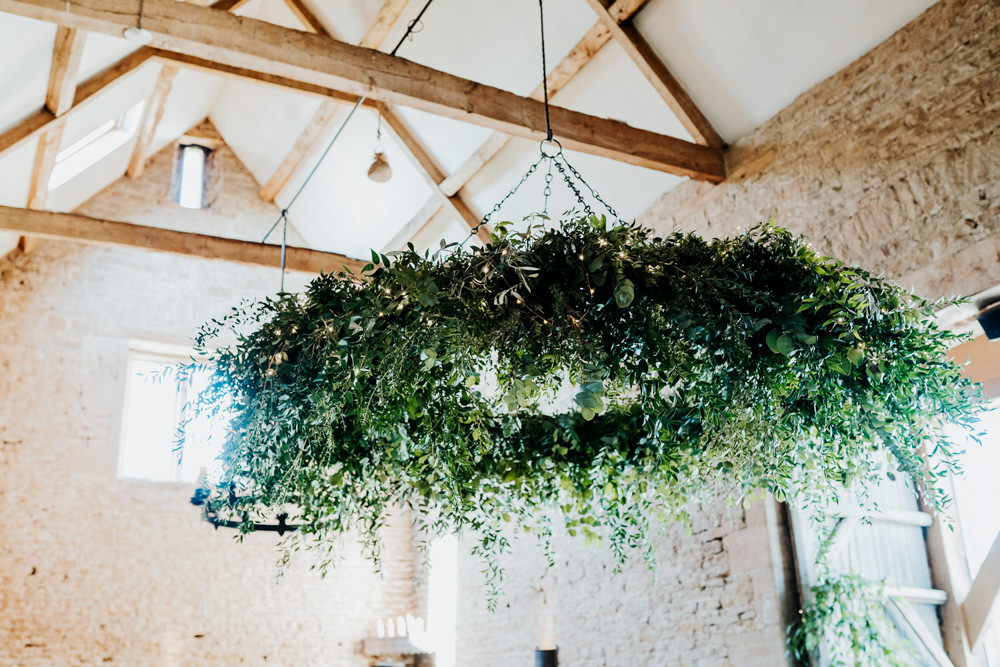 Foliage Hoop Chandelier Contemporary Barn Wedding Ryan Goold Photography