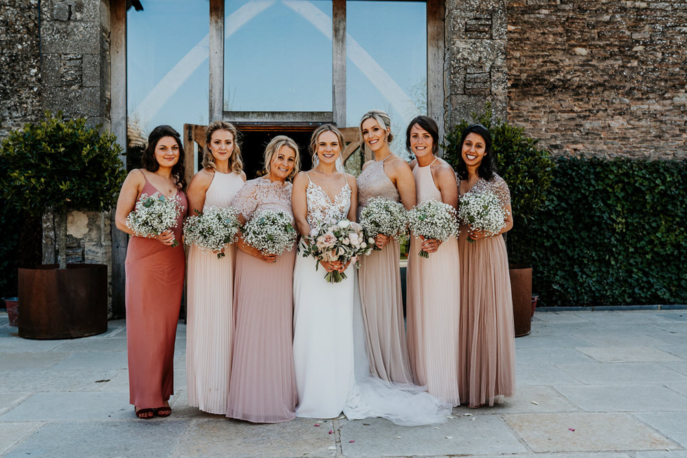 Pink Mismatched Bridesmaids Gypsophila Bouquets Bride Bridal Contemporary Barn Wedding Ryan Goold Photography