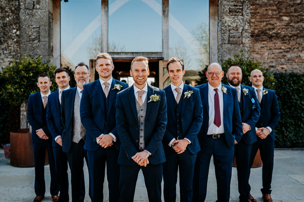 Groom Groomsmen Waistcoat Navy Suit Contemporary Barn Wedding Ryan Goold Photography