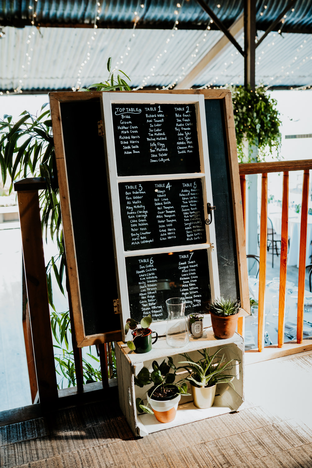Table Plan Window Chalk Crates Succulents Contemporary Barn Wedding Ryan Goold Photography
