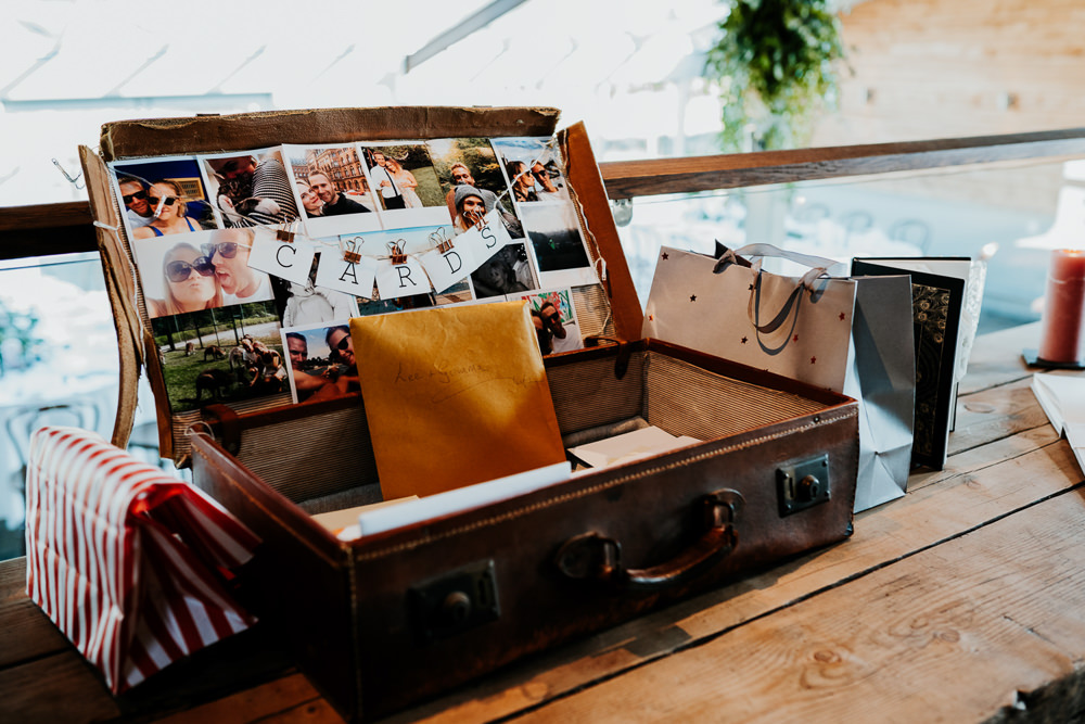 Cards Suitcase Photographs Contemporary Barn Wedding Ryan Goold Photography