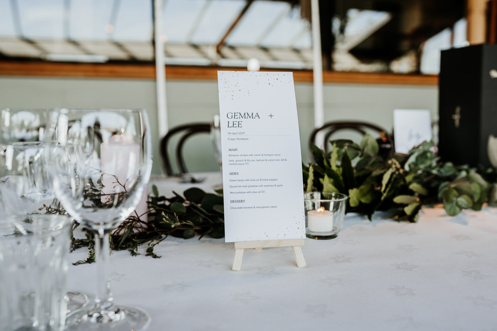 Menu Easel Contemporary Barn Wedding Ryan Goold Photography