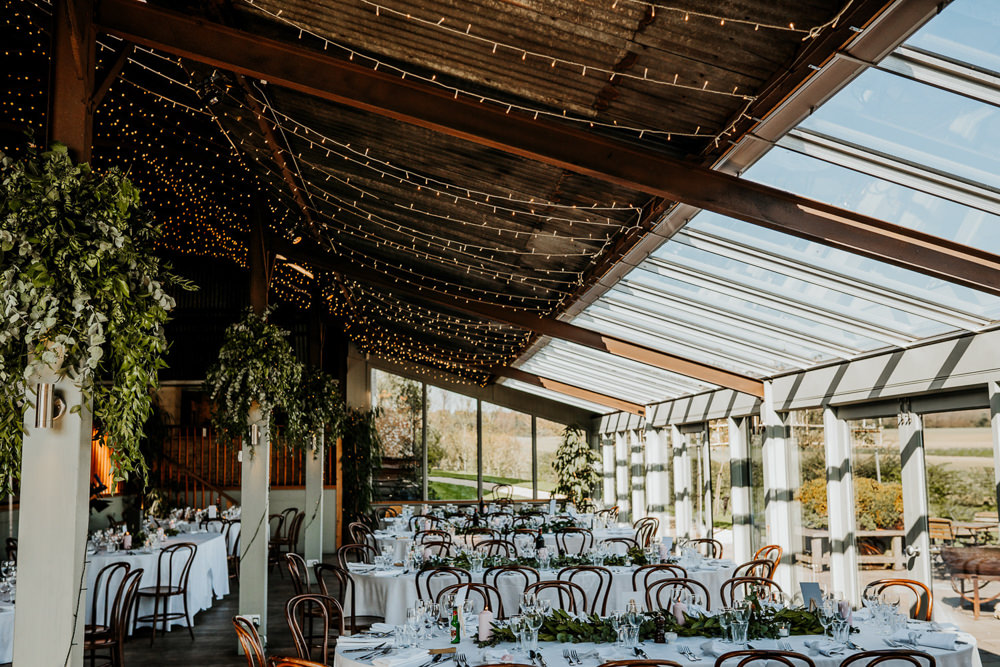 Foliage Pea Lights Contemporary Barn Wedding Ryan Goold Photography