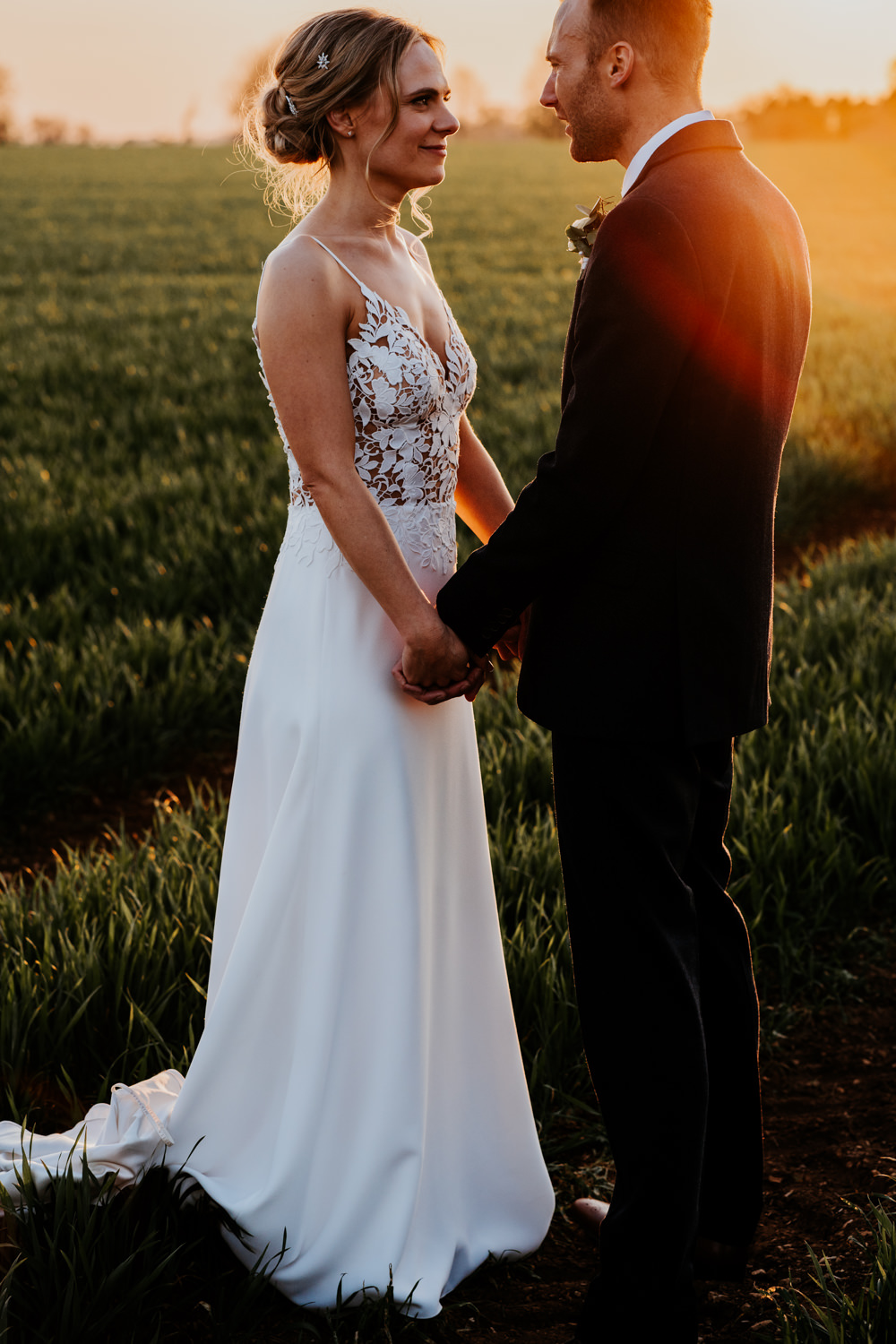 Bride Bridal Sleeveless Strappy Illusion Dress Silk Maxi Slim Separates Floral Tweed Waistcoat Groom Contemporary Barn Wedding Ryan Goold Photography