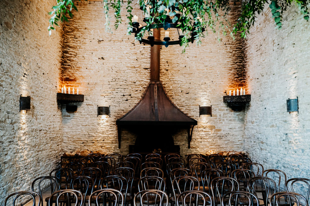 Ceremony Foliage Chandelier Barn Contemporary Barn Wedding Ryan Goold Photography
