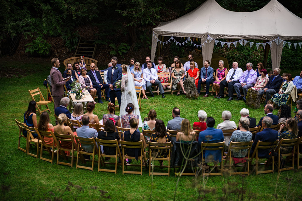 Outdoor Round Ceremony Marquee Gazebo Cotswolds Garden Wedding Jonny Barratt Photography