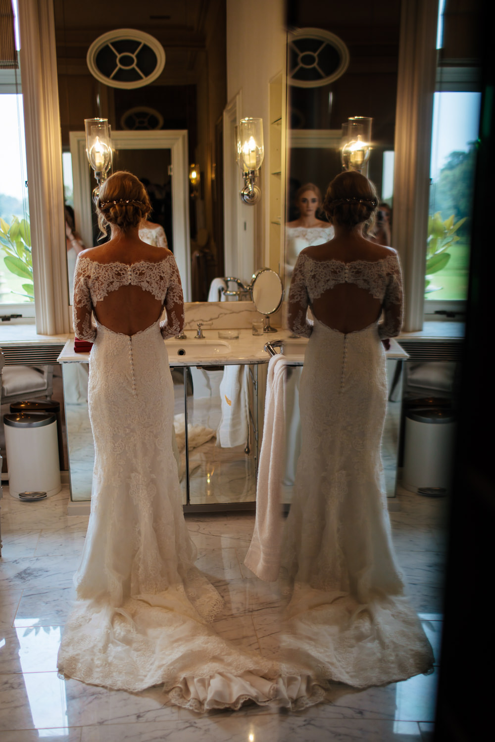 Bride Bridal Dress Gown Fit and Flare Lace Back Sleeves Train Macedonia San Patrick Cowdray House Wedding Matt Sim Photography