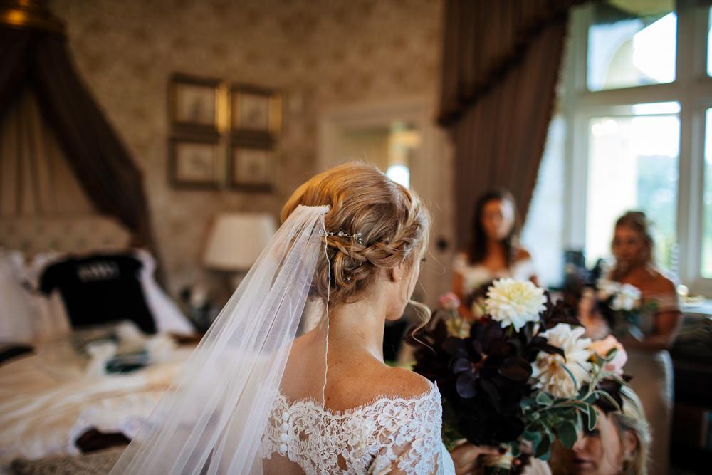 Bride Bridal Hair Up Do Style Plait Braid Veil Cowdray House Wedding Matt Sim Photography