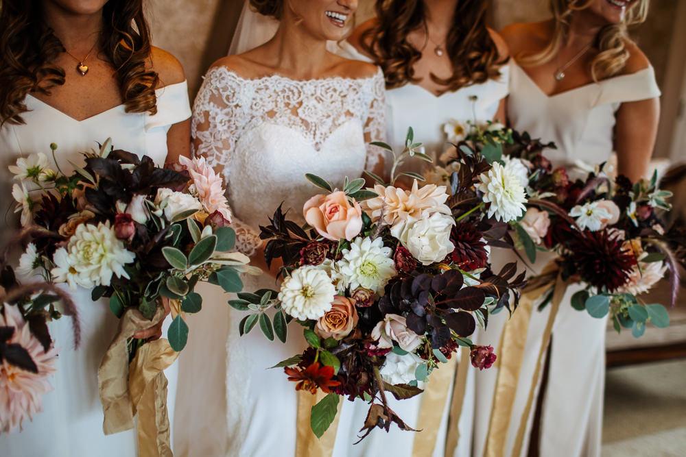 Bouquet Flowers Bride Bridal Red Burgundy Cream Wild Dahlia Rose Bridesmaid Cowdray House Wedding Matt Sim Photography