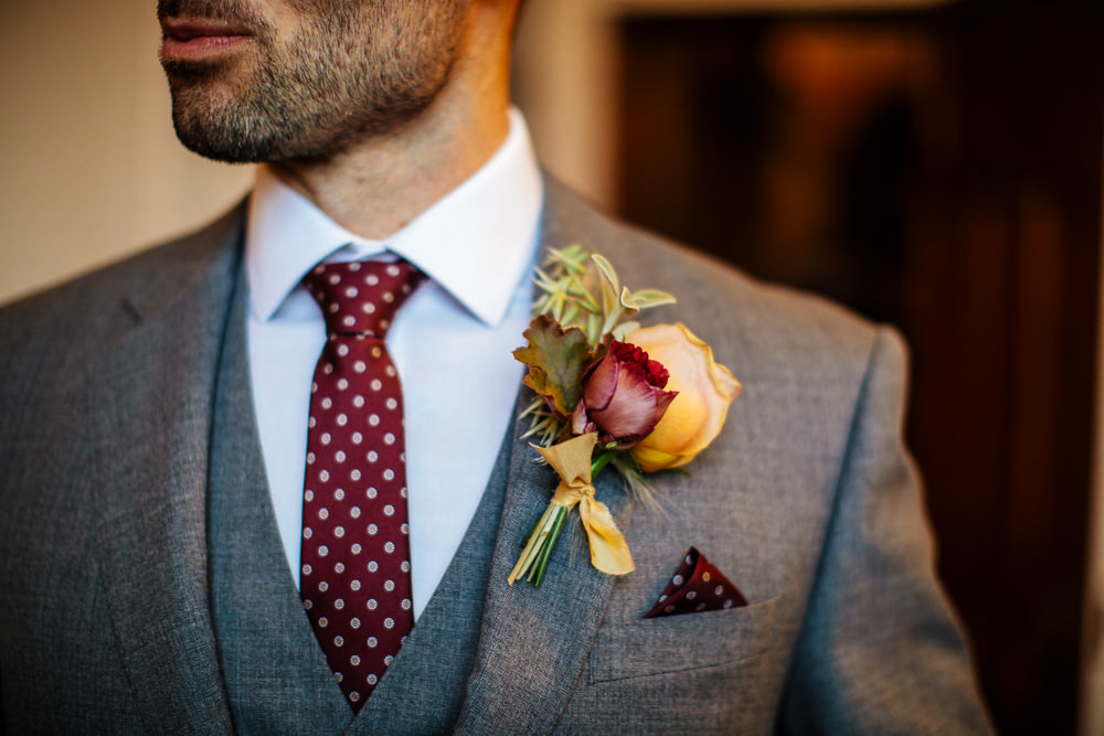 Groom Suit Grey Red Polka Dot Tie Pocket Square Buttonhole Cowdray House Wedding Matt Sim Photography