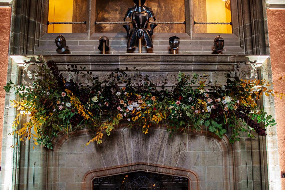 Fireplace Mantle Flowers Greenery Foliage Cowdray House Wedding Matt Sim Photography