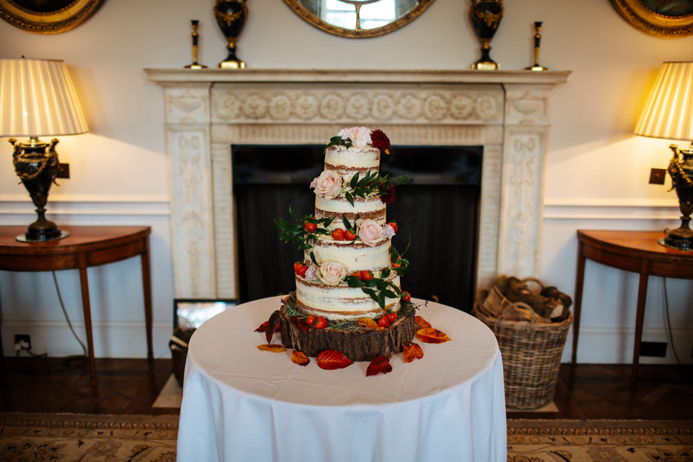 Semi Naked Cake Flowers Floral Log Stand Cowdray House Wedding Matt Sim Photography