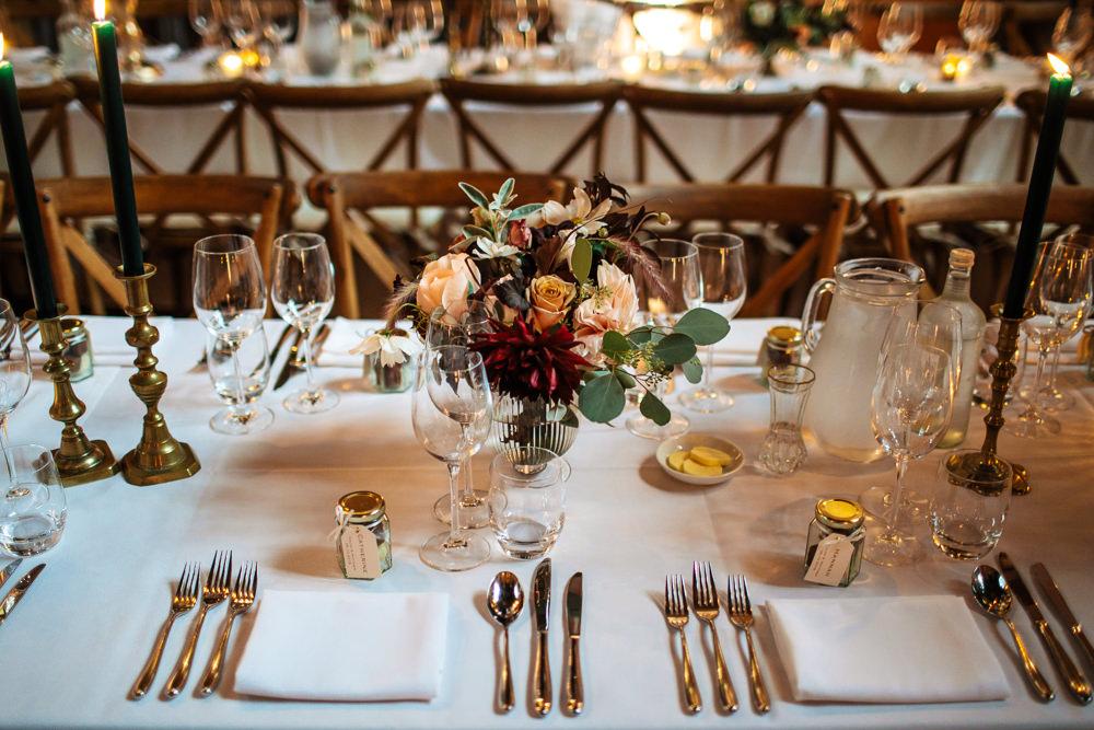 Long Tables Decor Decoration Dahlia Rose Flowers Centrepiece Cowdray House Wedding Matt Sim Photography