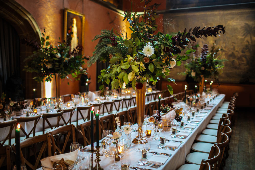 Long Tables Decor Decoration Tall Flowers Centrepiece Cowdray House Wedding Matt Sim Photography