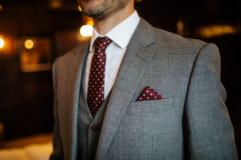 Groom Suit Grey Red Polka Dot Tie Pocket Square Cowdray House Wedding Matt Sim Photography