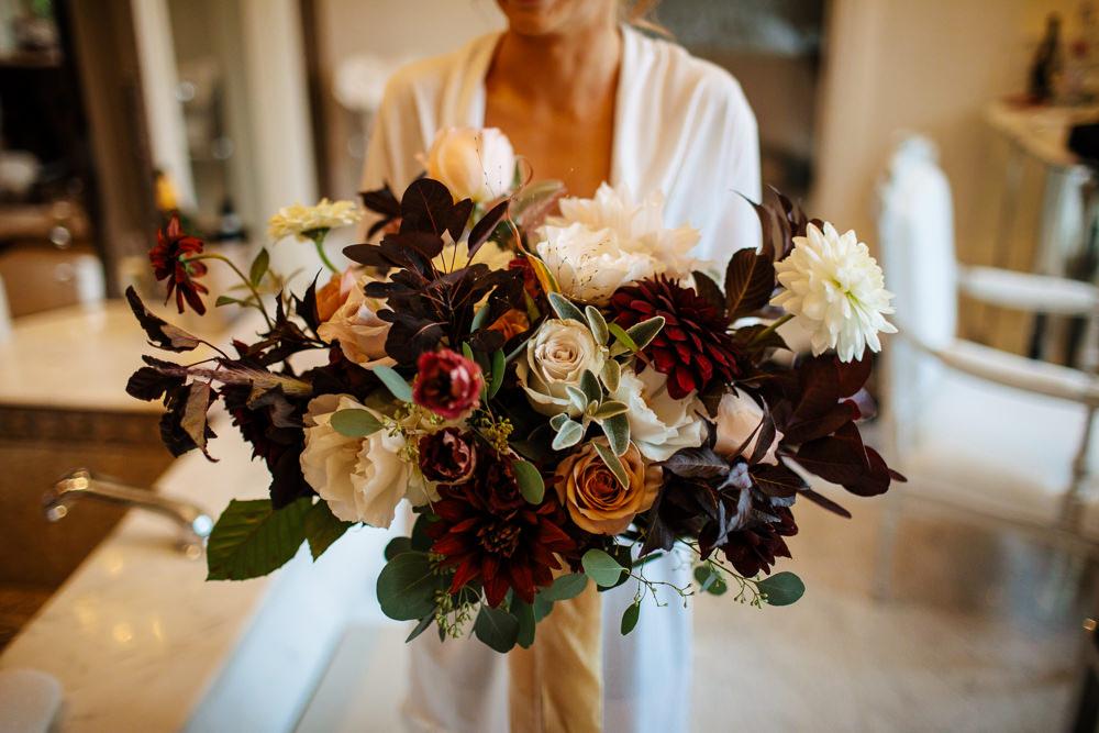 Bouquet Flowers Bride Bridal Red Burgundy Cream Wild Dahlia Rose Cowdray House Wedding Matt Sim Photography