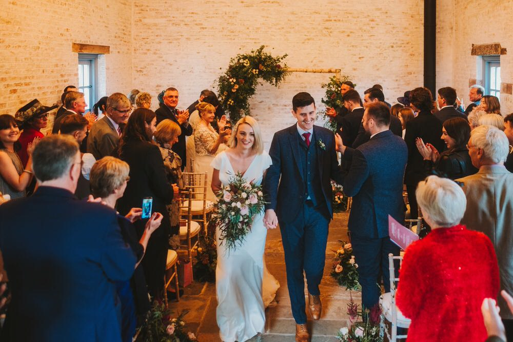 Ceremony Arch Backdrop Flowers Rose Astilbe Greenery Foliage Dorfold Hall Wedding Kate McCarthy Photography