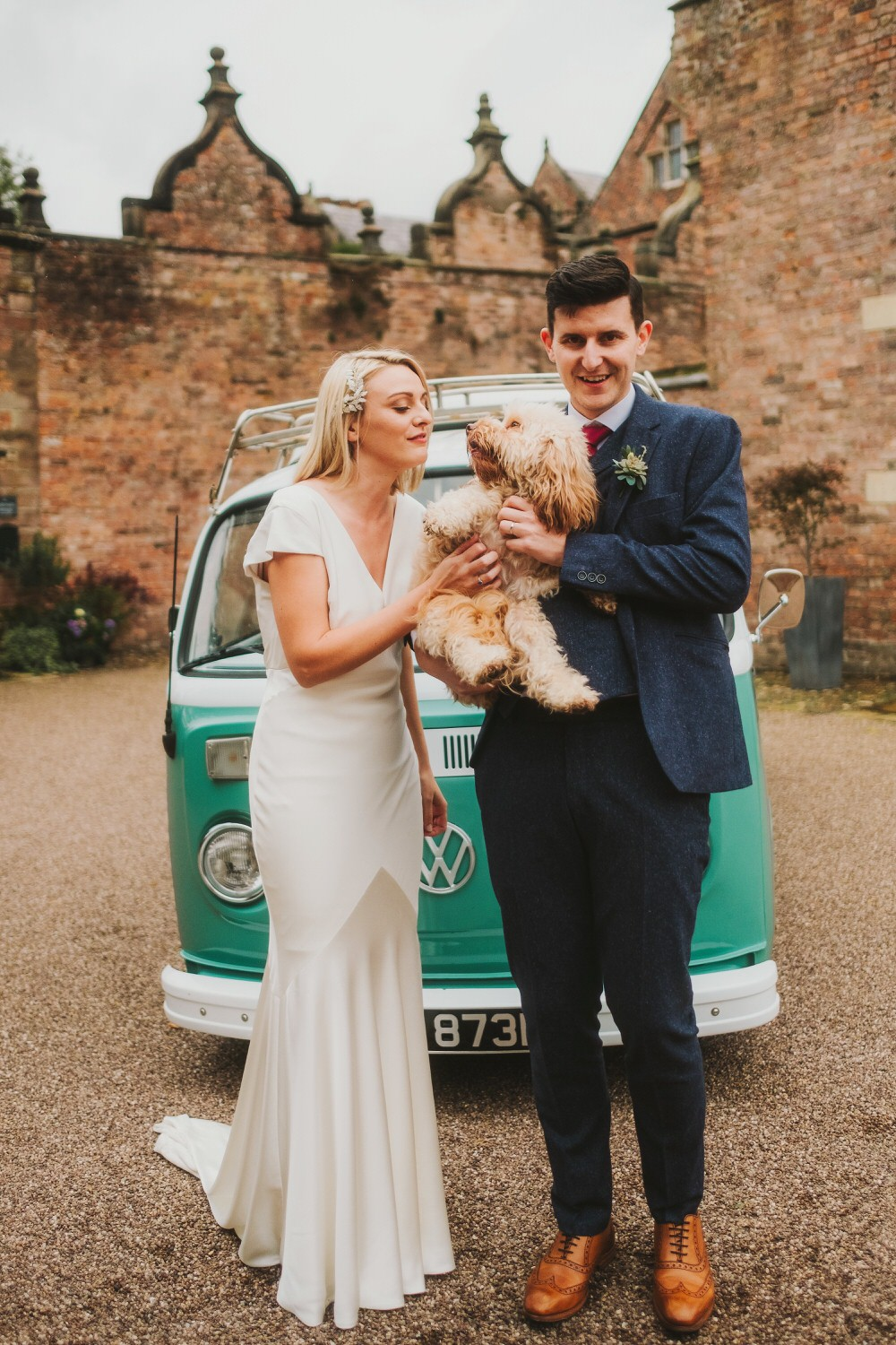 VW Campervan Transport Pet Dog Dorfold Hall Wedding Kate McCarthy Photography