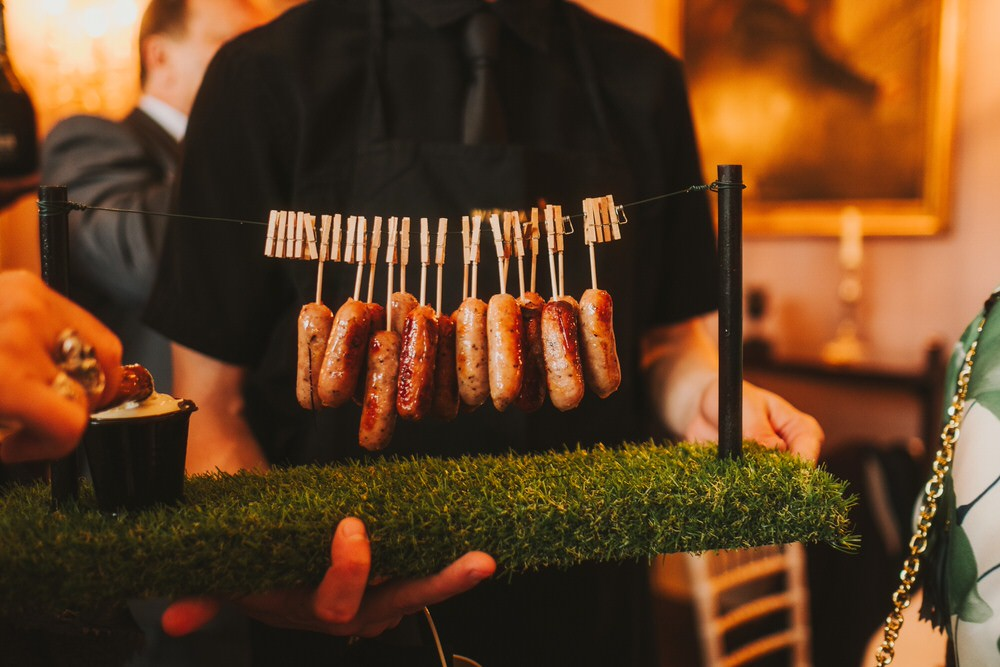 Canapes Sausages Dorfold Hall Wedding Kate McCarthy Photography