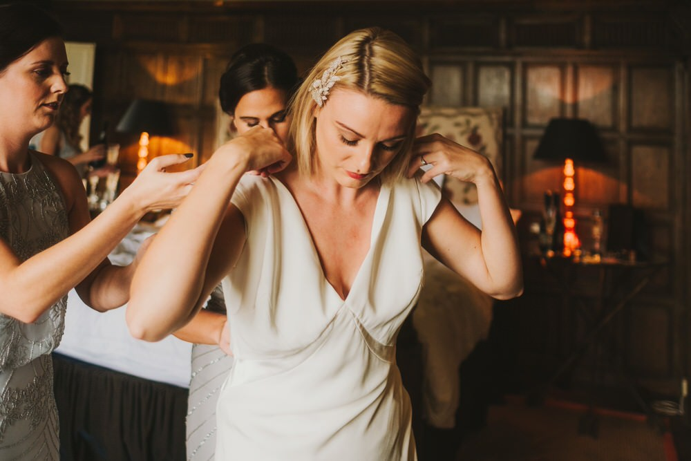 Dress Gown Bride Bridal Sleeves Savannah Miller Silk Satin Dorfold Hall Wedding Kate McCarthy Photography