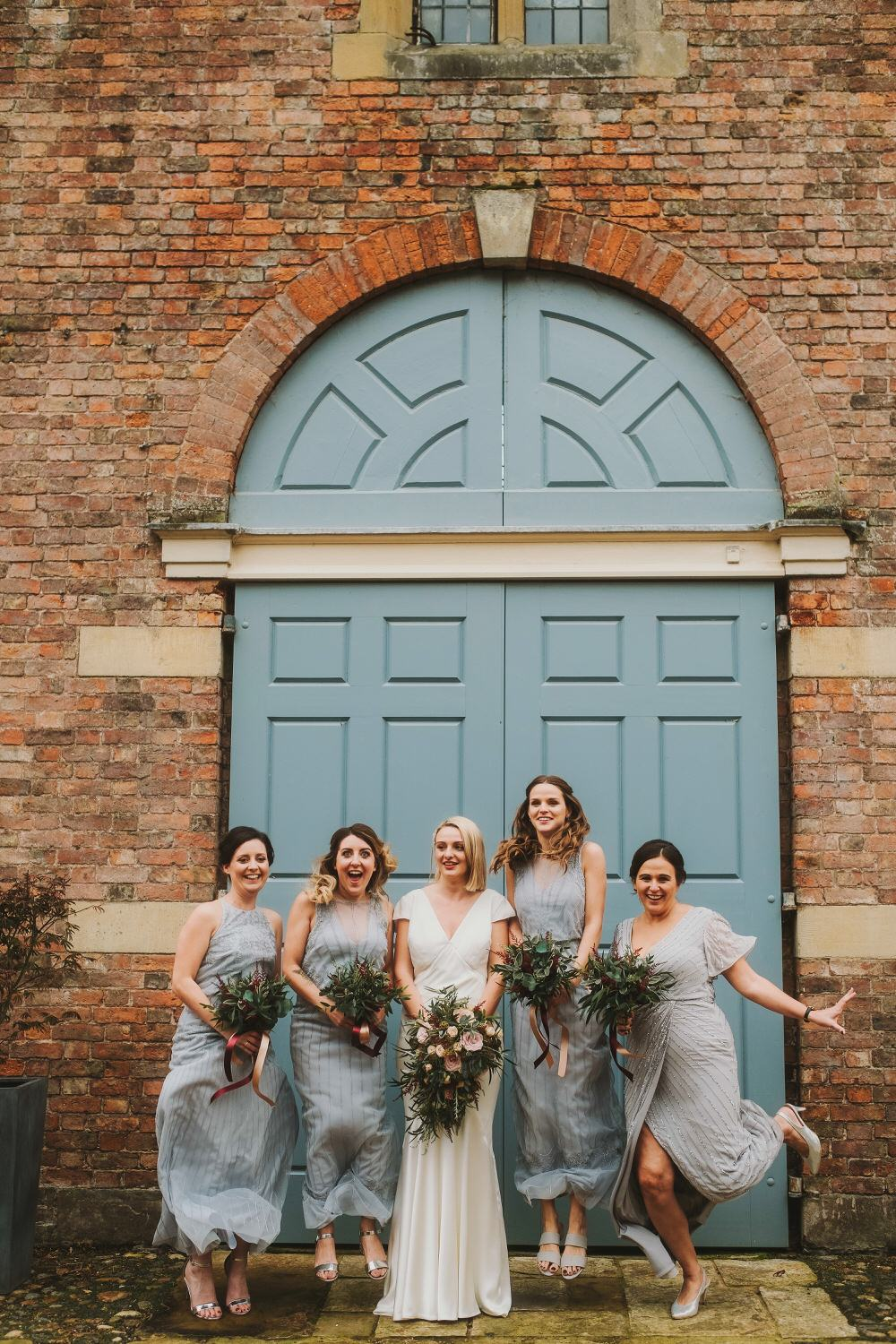 Bridesmaid Bridesmaids Dress Dresses Grey Beaded Dorfold Hall Wedding Kate McCarthy Photography