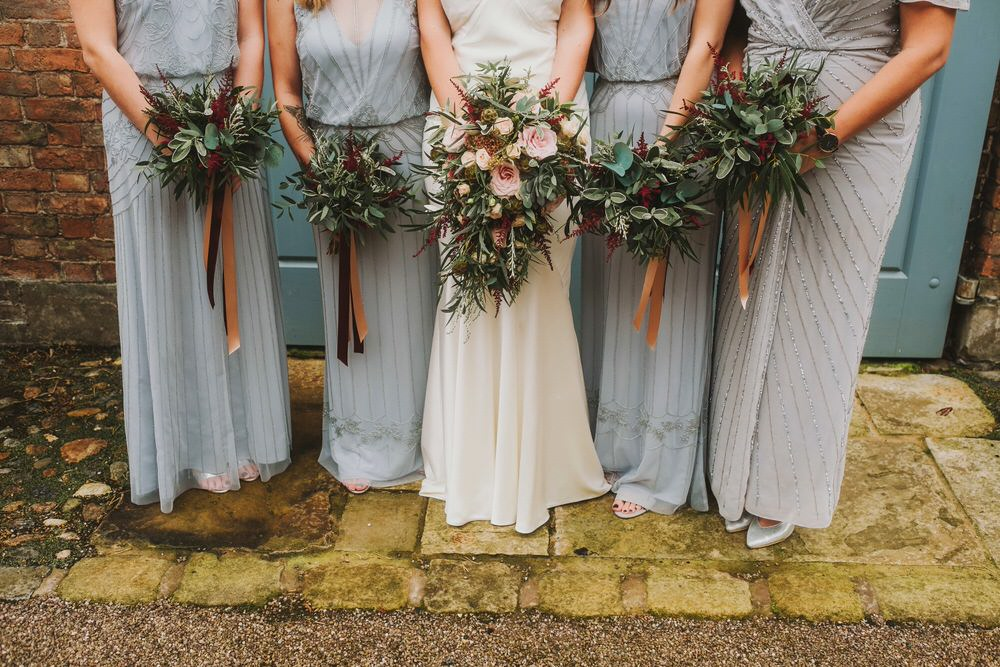 Bouquet Flowers Bride Bridal Rose Astilbe Greenery Foliage Bridesmaids Ribbons Dorfold Hall Wedding Kate McCarthy Photography