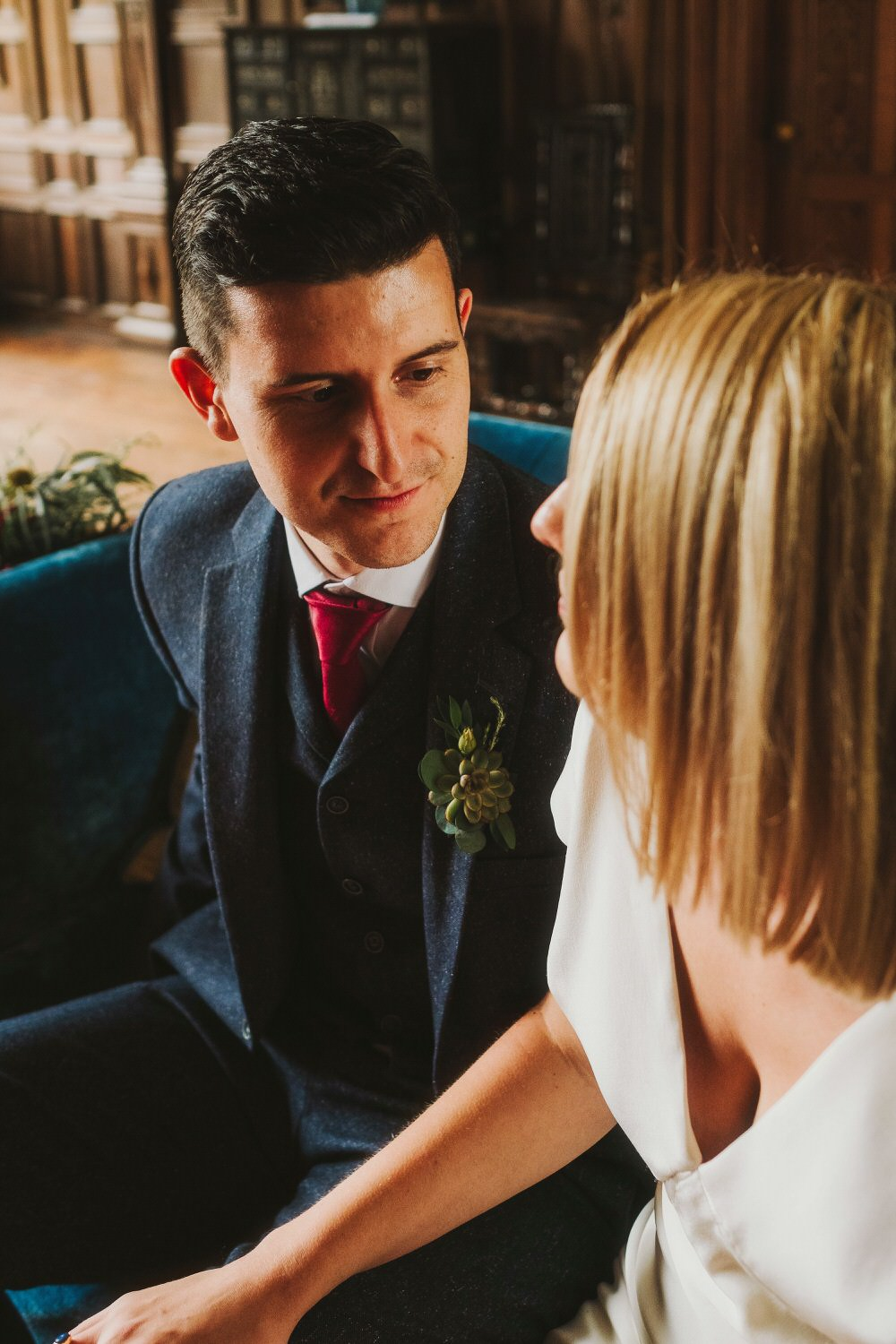 Groom Suit Blue Tweed Red Tie Dorfold Hall Wedding Kate McCarthy Photography