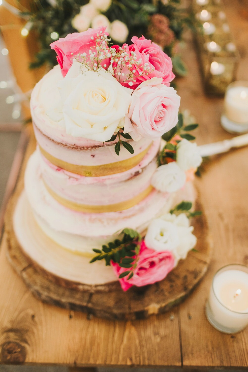 Semi Naked Cake Flowers Floral Pink Dorfold Hall Wedding Kate McCarthy Photography