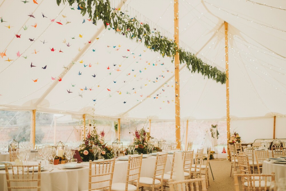 Sperry Pole Tent Marquee Origami Paper Cranes Greenery Foliage Dorfold Hall Wedding Kate McCarthy Photography