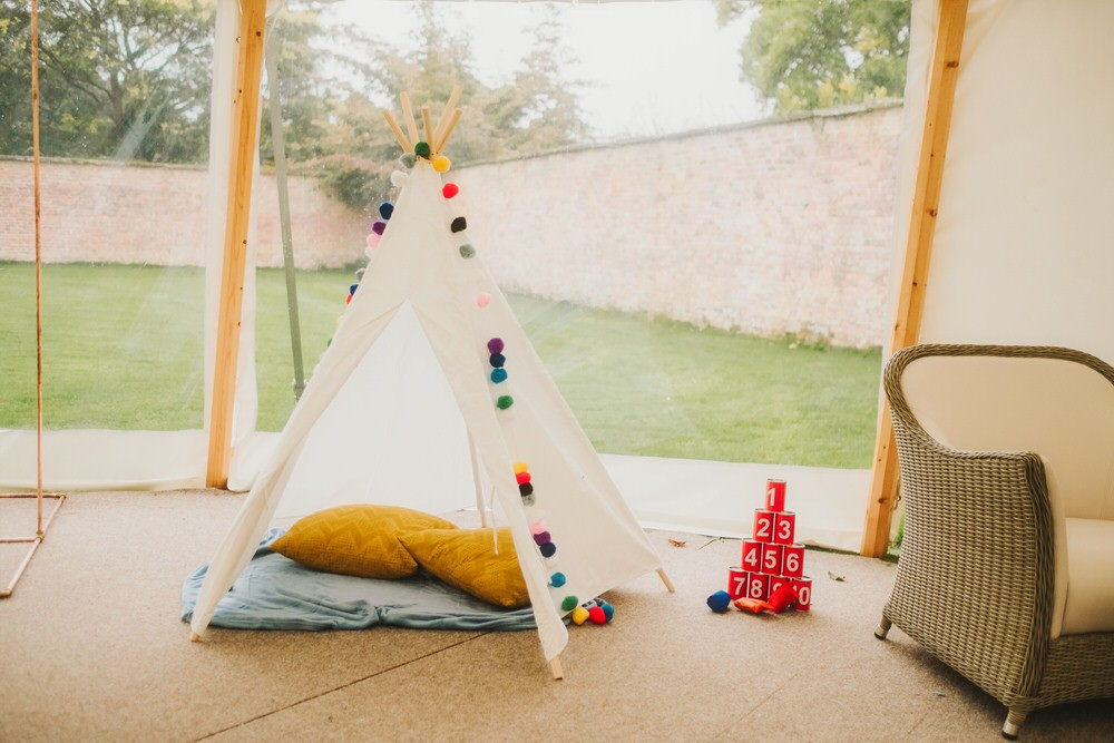 Kids Childs Childrens Tipi Teepee Tent Dorfold Hall Wedding Kate McCarthy Photography