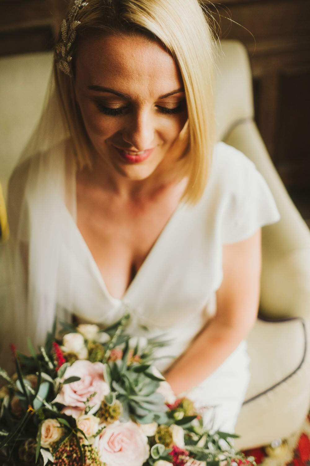 Bride Bridal Hair Short Make Up Bob Dorfold Hall Wedding Kate McCarthy Photography