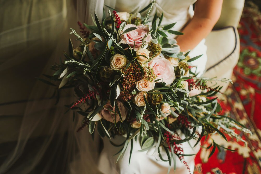 Bouquet Flowers Bride Bridal Rose Astilbe Greenery Foliage Dorfold Hall Wedding Kate McCarthy Photography