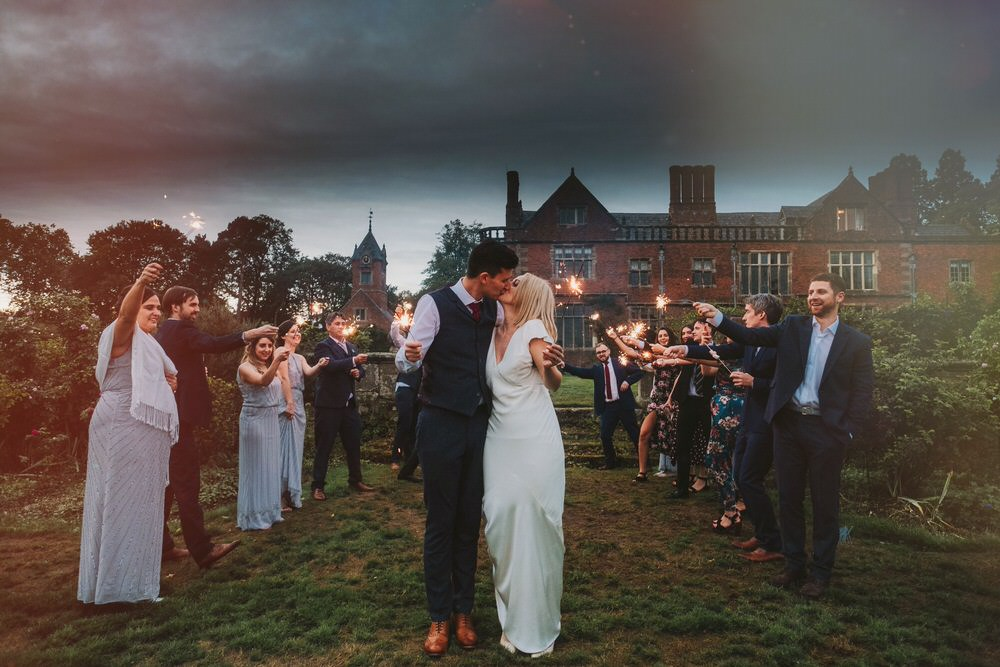 Sparkler Exit Send Off Dorfold Hall Wedding Kate McCarthy Photography