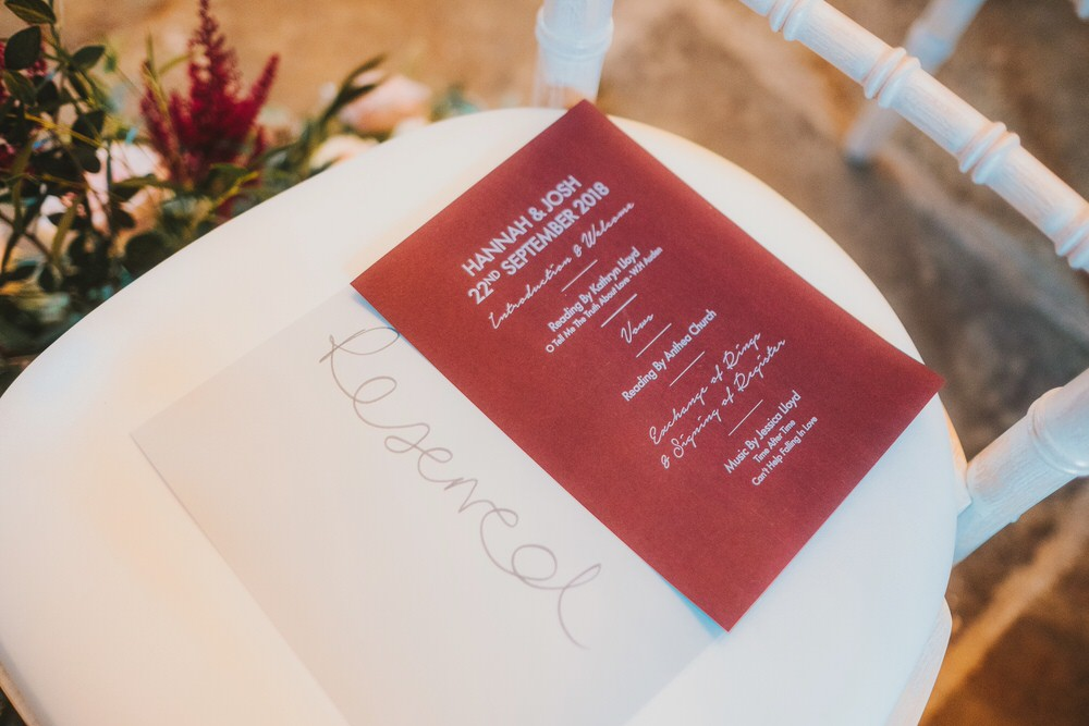 Order of Service Stationery Dorfold Hall Wedding Kate McCarthy Photography