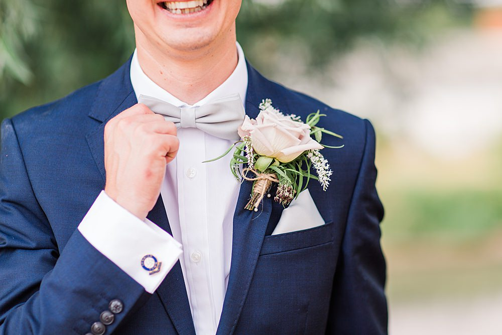 Groom Suit Bow Tie Navy Buttonhole Flowers Granary Estates Wedding Terri & Lori Fine Art Photography and Film Studio
