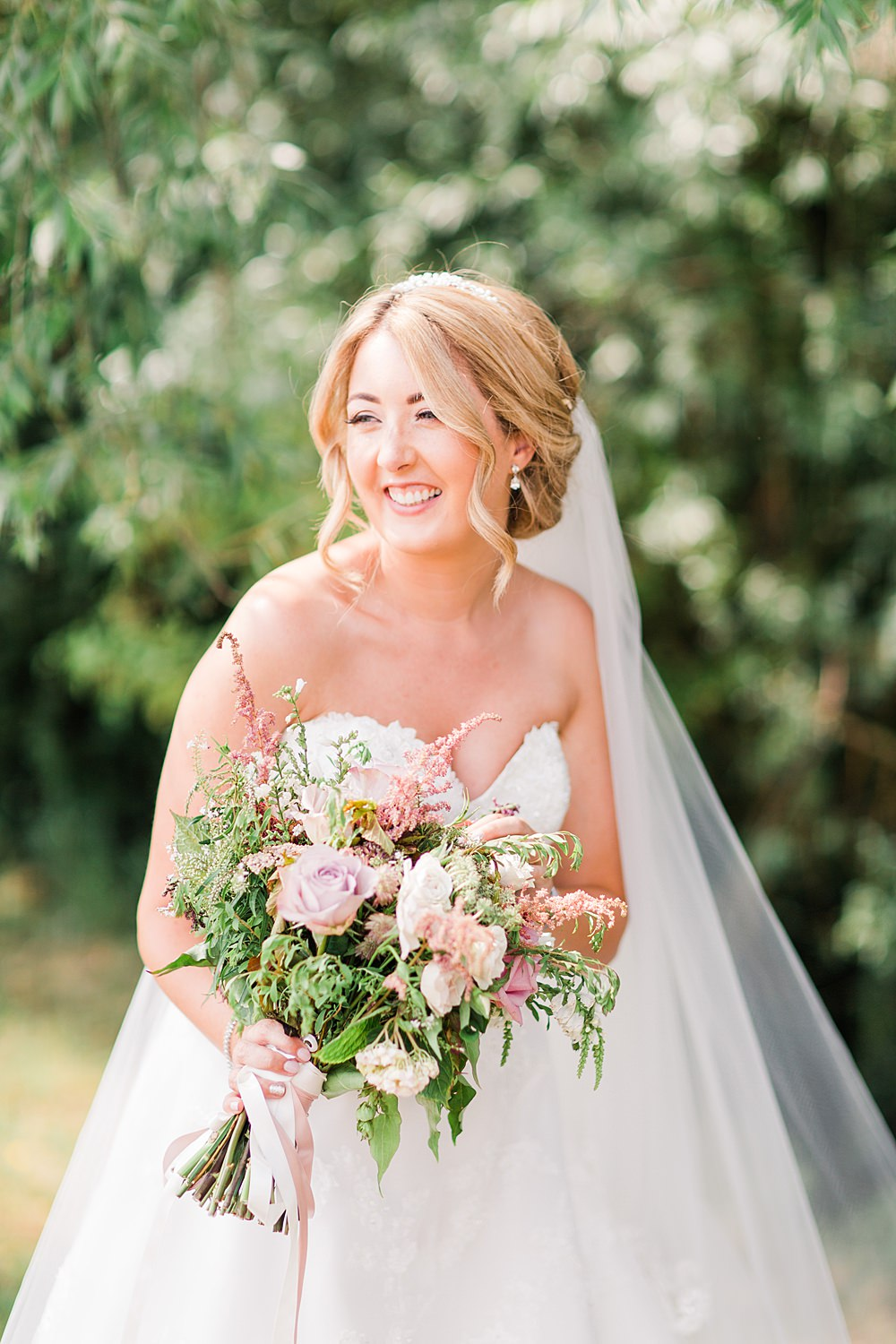 Bouquet Flowers Bride Bridal Pink Rose Astilbe Greenery Foliage Granary Estates Wedding Terri & Lori Fine Art Photography and Film Studio
