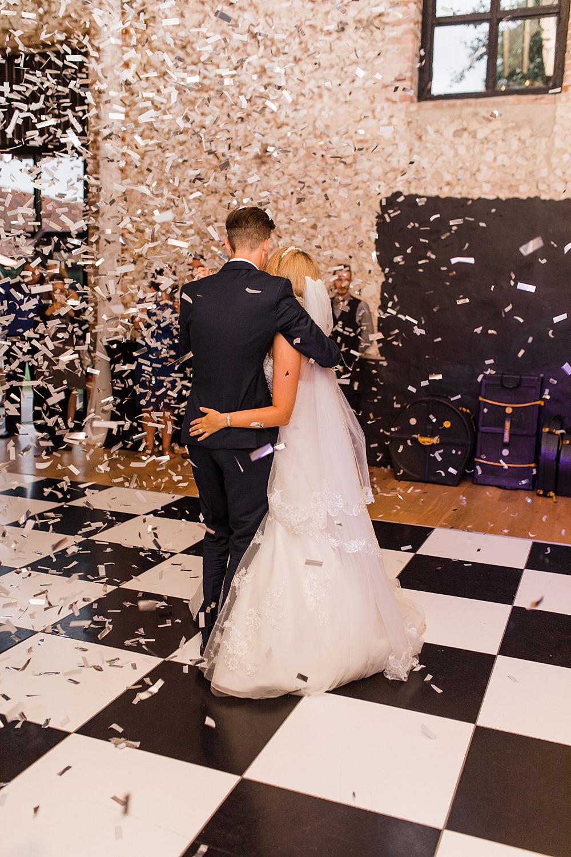 Confetti Cannon Dancefloor Granary Estates Wedding Terri & Lori Fine Art Photography and Film Studio