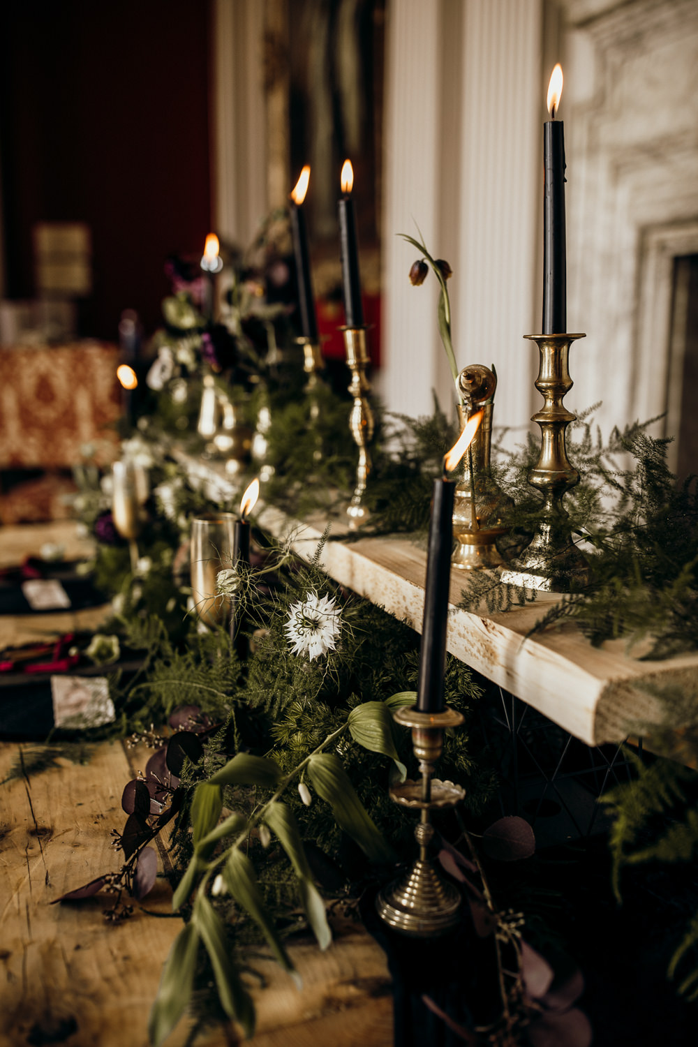 Table Tablescape Decor Decoration Candles Velvet Brass Flowers Ferns Harry Potter Wedding Ideas Thyme Lane Photography